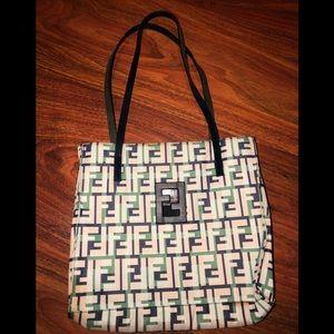 Handbags - Fendi blue zucca print pochette
